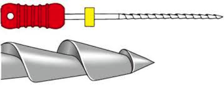 Figure 3: nearly 90 degree rake angle of the hedstrom file